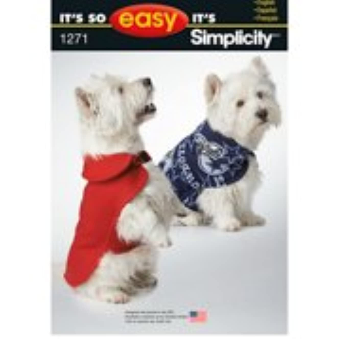 Simplicity Creative Patterns 1271 It's So Easy Dog Coat in Three Sizes, Size: A XS-S-M