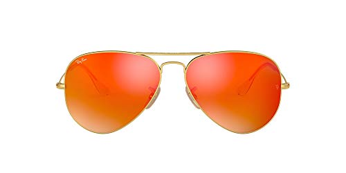 Ray-Ban RB3025 Classic Aviator Sunglasses, Matte Gold/Orange Mirror, 58 mm