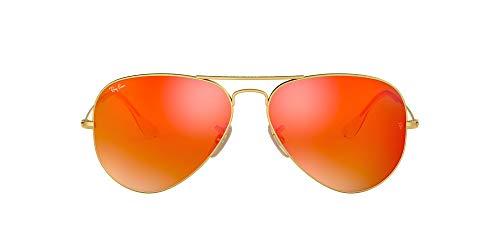 Ray-Ban RB3025 Aviator Classic Flash Mirrored Sunglasses, Matte Gold/Orange Flash, 55 mm