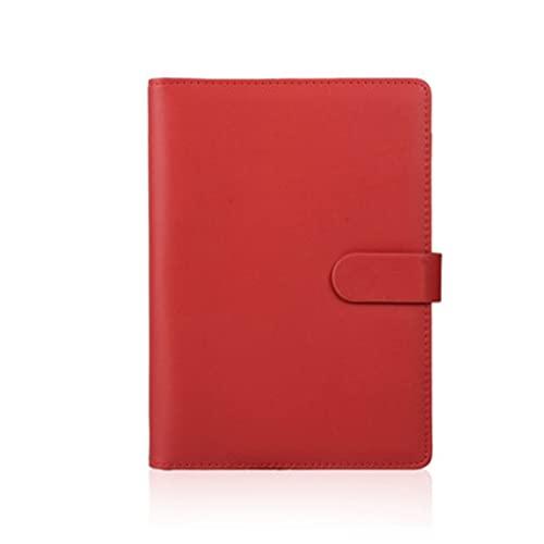 WPBOY Cuaderno Portátil De Bolsillo, Diario De Hojas Sueltas Adecuado para Material Escolar De Oficina Y Hogar (A5 / B5 / A6) (Color : Red, tamaño : A6)
