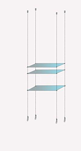 Pendelleuchte 1-Display-Glas/Edelstahl Drahtseil-Regal, mit Ablage, Metall KIT FOR 3 Shelves