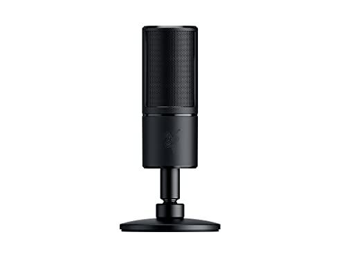 Razer Seiren X - micrófono de condensador USB para transmisión, compacto con amortiguador, patrón de grabación supercardioide, sin latencia, botón de silencio, conexión de auriculares, negro