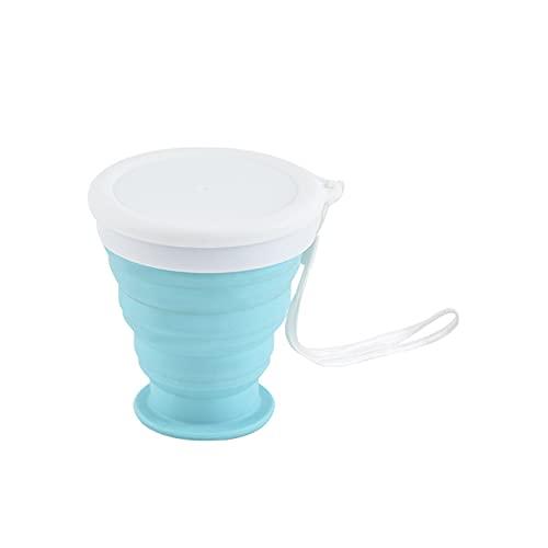 JTKJ Taza de agua plegable portátil silicona deportes al aire libre gran capacidad taza de agua compresible plegable taza de café portátil viaje de negocios azul medio 200ml