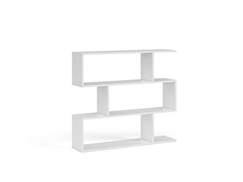Esidra Libreria Bassa Design, Laminato, Bianco Lucido, 25 x 97 x 110 cm