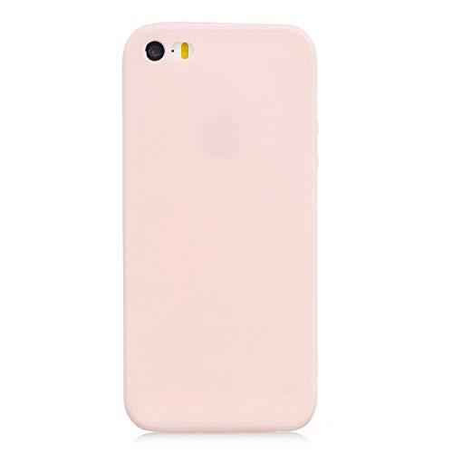 cuzz Funda para iPhone 5 / 5S / SE+{Protector de Pantalla de Vidrio Templado} Carcasa Silicona Suave Gel Rasguño y Resistente Teléfono Móvil Cover-Rosa Claro