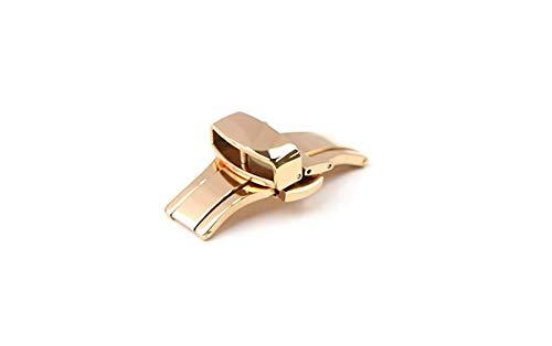 『腕時計 ベルト 21mm レザー クロコダイル型押し 牛 革 青 プッシュ式 Dバックル ピンク ゴールド l001bu-pd-p』の3枚目の画像