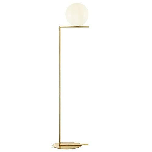 Light Luxury Floor Lamp Round Glass Ball Study Bedroom Living Room Sofa Decorative Floor Lamp (Color : Warm light, Size : 162cm)
