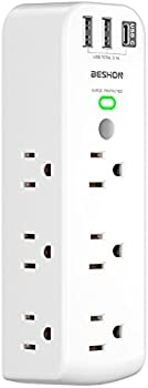 Beshon 9 Outlet Extender with 3 USB Charging Ports