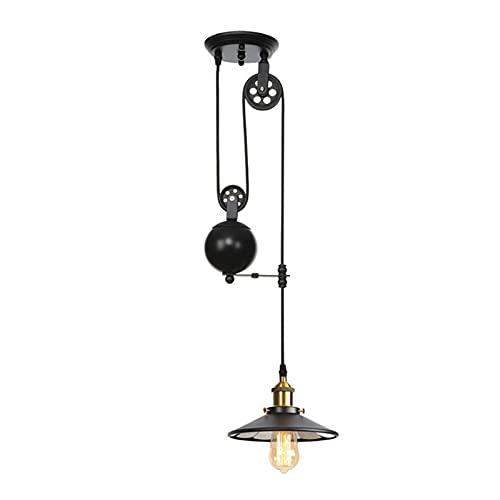 YCJK Lámpara de araña, lámpara de elevación telescópica de polea, Altura Ajustable, Material de Metal de Hierro, fácil de Instalar, Adecuado para la decoración del hogar y la iluminación Interior