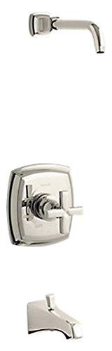 Kohler K-TLS16225-3-SN Margaux Rite-Temp-Embellecedor de válvula de baño Mango en Cruz y Boquilla NPT, Menos alcachofa de Ducha, níquel Pulido Vibrante
