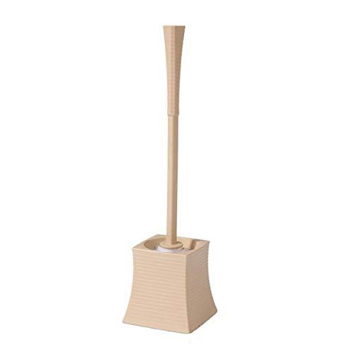 Brosse de toilette avec base, brosse de toilette en plastique, tête carrée, brosse de nettoyage pour cheval, manche long, brosse de nettoyage pour angle mort, brosse de toilette douce et au sol,Beige