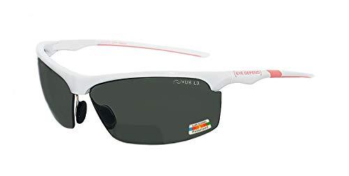 rainbow safety Sonnenbrille Polarisierte Bifokal Sportbrille mit Leseteil für Radler Baseball Laufen Angeln Golf Softball Wandern PRO P (WTH-PNK +2.00D)