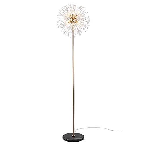 LJFLI Lámpara de pie de Cristal Oro Lámpara Vertical de Sala de Estar Minimalista Moderna Estilo ins iluminación Simple mármol Creativo,Golden