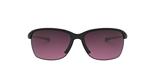 Oakley Women's OO9191 Unstoppable Sunglasses, Polished Black/Rose Gradient Polarized, 65 mm