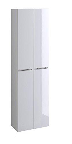 lifestyle4living Badezimmerschrank in Weiß, Hochglanz, breit | Hochschrank mit 2 Türen und 3 Einlegeböden