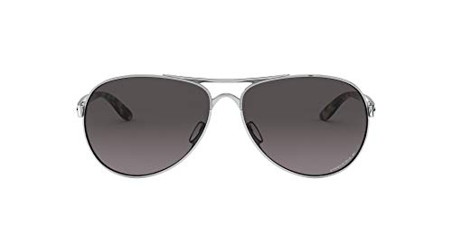 Oakley Women's OO4079 Feedback Metal Aviator Sunglasses, Polished Chrome/Prizm Grey Gradient Polarized, 59 mm