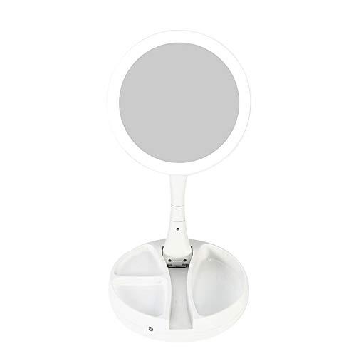 XYZMDJ Espejo de maquillaje portátil con luz LED con 10 aumentos con...