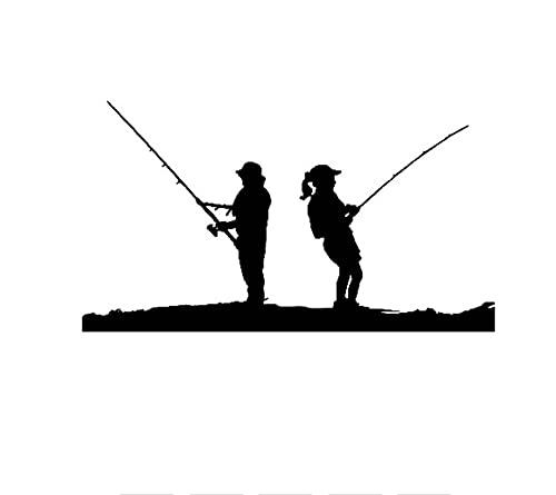 MDGCYDR Pegatinas Coche 15 Cm * 8,4 Cm Hombre Mujer Escena De Pesca Divertido Vinilo Decoración Calcomanías Negro Plata