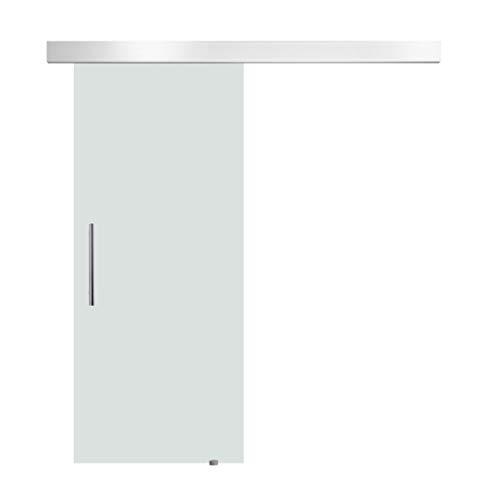 HOMCOM Porta Scorrevole Interna in Vetro Smerigliato con Binario B1 e Maniglia per Bagno Cucina Studio Vetro 205x 77,5x 0,8cm