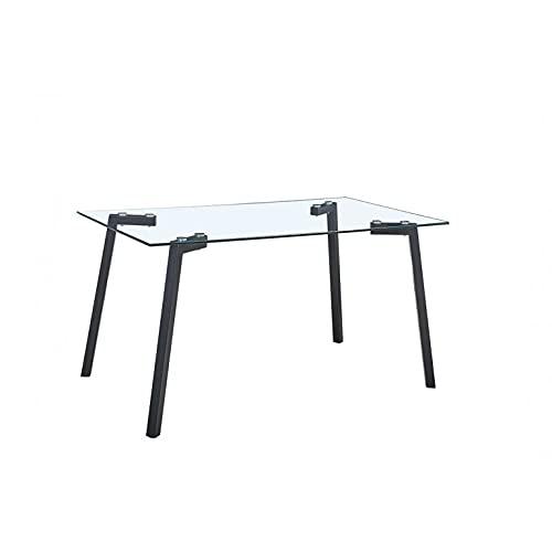 Shiito - Mesa de Cristal Transparente y Patas en Color Negro. Modelo Asher THDT070. Diseño Sencillo