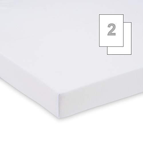 Doppelpack FabiMax 3560 Jersey Spannbettlaken für Stubenwagen, 40 x 80 cm, oval, weiß