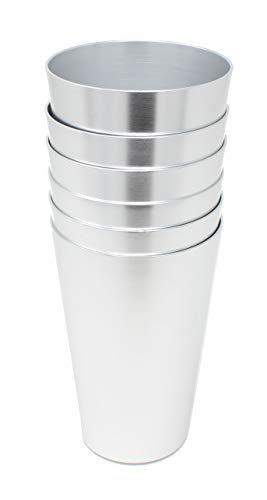 Aluminum Tumbler Reusable 16 OZ Drinking Cups - Bright Anodized Color - Set of 6 - Silver