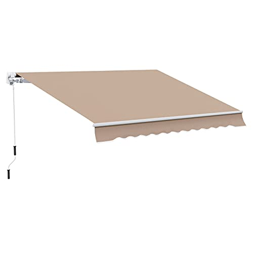 Outsunny 12' x 10' Manual Retractable Awning Outdoor Sunshade Shelter for Patio, Balcony, Yard, with Adjustable & Versatile Design, Khaki
