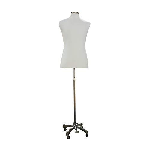 "Adjustable- Mannequin Dress Form Male Mannequin Dress Form 38""33""40"" On Chrome Rolling Base (Pinnable Series) P"