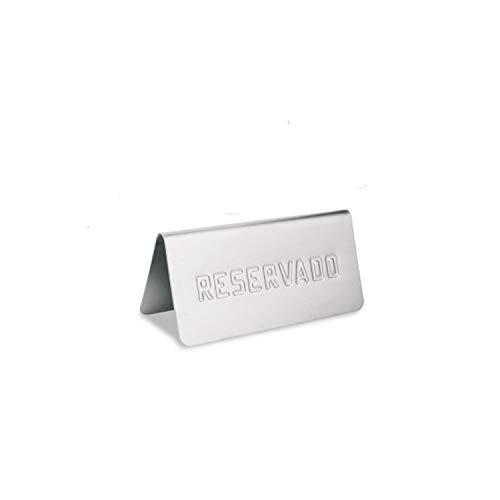 Supreminox Señal de Mesa Reservado, Acero Inoxidable, Plateado, 30 x 30 x 30 cm