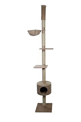 animal-design Katzenbaum deckenhoch beige, grau - Skinny - mit Liegemulde, Wohnhöhle, Farbe:beige
