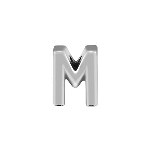 Pulsera de joyería 925 Pandora Natural Se Adapta a Plata esterlina Alfabeto Letra M Abalorios para Hacer Accesorios Berloque DIY Regalos para Mujeres