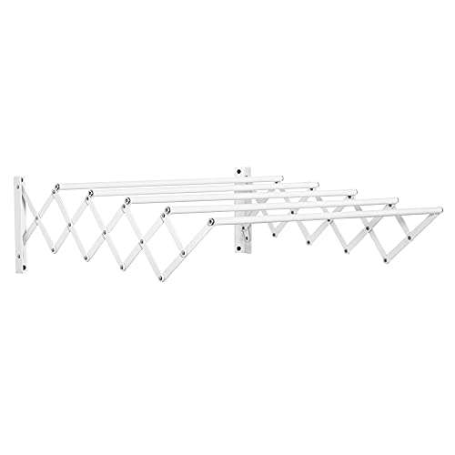 HOMCOM Tendedero de Pared Extensible de 63,5 cm Tendedero de Ropa de Metal con 5 Barras para Interior y Exterior Baño Balcón Carga 10 kg 63,5x60x20 cm Blanco