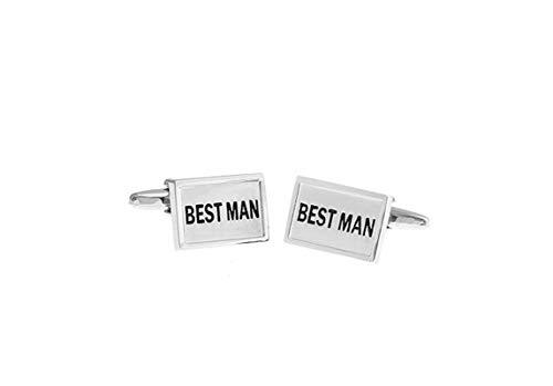 DOLOVE Manschettenknöpfe Herren Personalisiert Manschettenknöpfe Rechteckig Gravur Best Man Manschettenknöpfe Set Silber