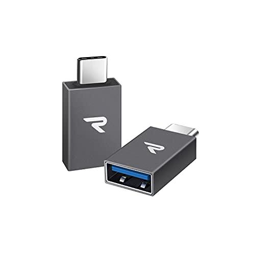 RAMPOW Adaptador USB C a USB 3.1[OTG] Aluminio Adaptador -Garantía de por Vida- Compatible para MacBook Pro 2016/2017, Huawei, Samsung, ChromeBook Pixel y Dispositivos con USB C - Gris, 2 Unidades