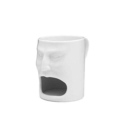 YARNOW Weiß Keramik Becher mit Cookie Oder Keks Tasche Gesicht Geformt Kaffee Becher Tee Milch Tasse Becher Neuheit Becher für Männer Frauen Valentines Tag Liefert