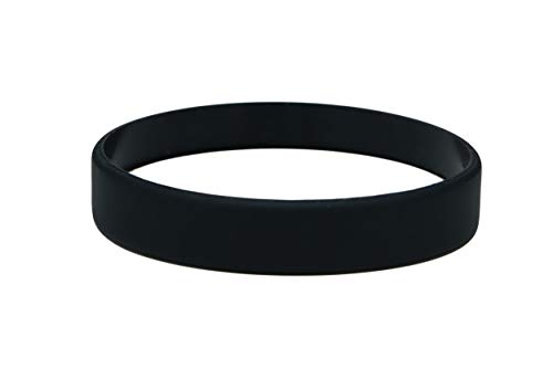 Silicone Wristbands Pack Of 10 Youth Sizes Choice Of Colours (Black)