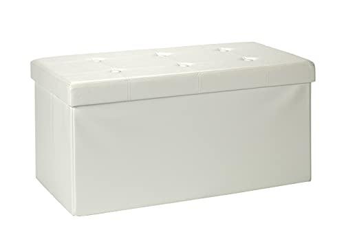 D&D Quality Puff Almacenaje, Asiento Acolchado, 76 x 38 x 38 cm, Plegable - Exterior Polipiel Suave - Carga Máxima de 300 kg (White)