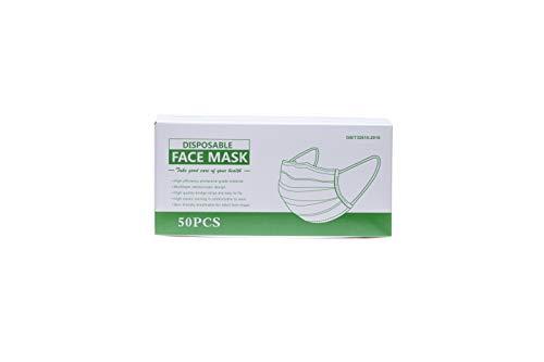 Einweg Mund Nasen Schutz - aus weichem Vliesstoff - 50 Stück - 3-lagig - mit verstellbaren Nasenbügel und bequemen Gummibänder - nahtlose 3D Vollabdeckung - Farbe: Weiss