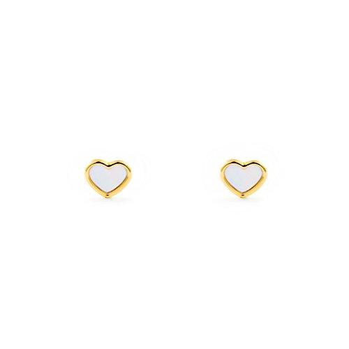 Orecchini per bambini cuore madreperla - oro giallo 9k (375)