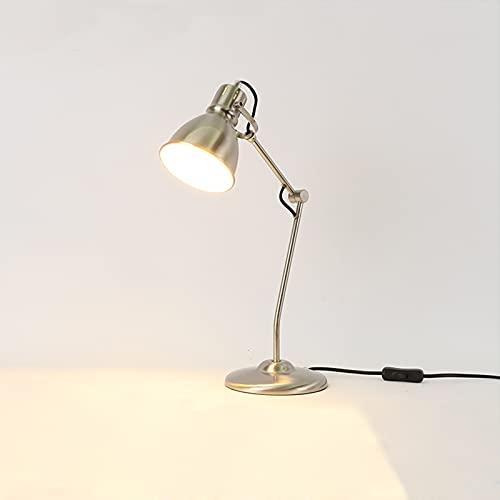 LANMOU Lámpara de Escritorio Arquitecto de Metal, Lámpara de Mesa Vintage de Brazo Oscilante con Interruptor, Lámpara de Lectura Luz Mesita de Noche, Casquillo E27, Lámpara de Oficina,Metálico