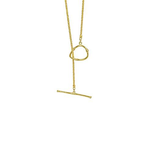 Kkoqmw Collar de Gargantilla de Cadena Larga con taquilla Grande Irregular geométrica de Plata de Ley 925 joyería