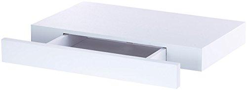 Carlo Milano Wandschublade schmal: Wandregal mit versteckter Schublade, 40 x 5 x 25 cm, weiß (Regal mit Schublade)