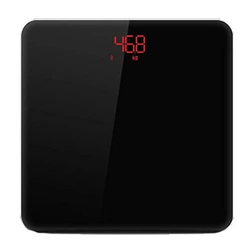 Goodvk Básculas de Grasa Corporal Inteligentes Bluetooth Smart Cuerpo Escala De Grasa Recargable App Escala De Herramientas De Yoga Fitness Fácil de Configurar (Color : Black, Size : 28x28cm)