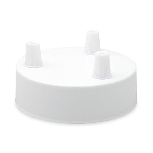 Lampen Baldachin - Deckenbaldachin Metall 3-fach weiß (mit 3 Kabelauslässen) Ø 10 x 2,4 cm