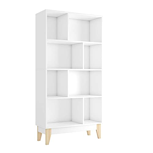 Estantería Libreria con 8 Cubos Estantería para Libros Mueble Aparador Madera para Dormitorio Salón Oficina Comedor Blanco 147.5x75x29.5cm