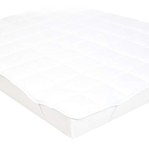 AmazonBasics zachte topmatras met microvezel-polyester vulling en banden, 200 x 200 cm, wit