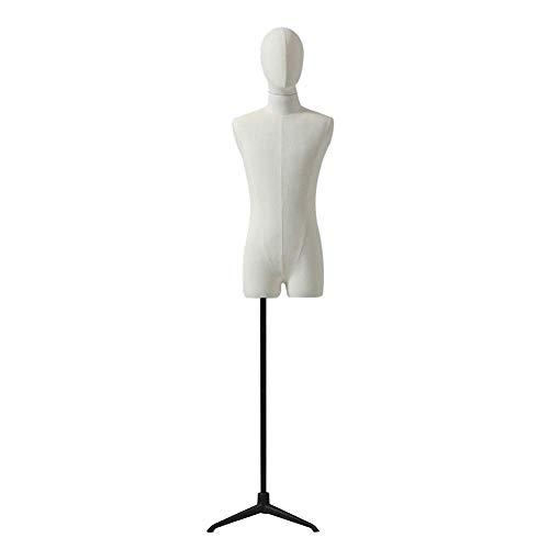 AJZGF Maniqui de Costura sastres simulado Macho, sastres Torso Blanco, Modelos de Moda Muestran Busto, Base de Metal maniqui Mujer (Color : A)
