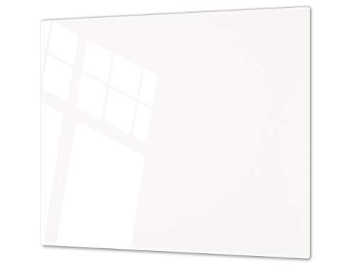 Planche à découper en verre trempé – Couvre-cuisinière et protège-plain de travail en verre résistant – UNE PIÈCE (60x52 cm) ou DEUX PIÈCES (30x52 cm chacune); D17 Noir et blanc: White