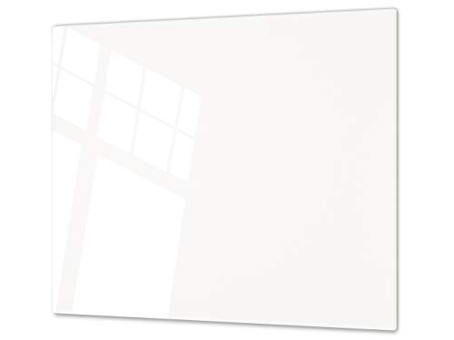 Cubre vitrocerámica y tabla de cortar de cristal templado – Superficie de vidrio templado resistente – UNA PIEZA (60 x 52 cm) o DOS PIEZAS (30 x 52 cm); D18 Serie de colores: A Blanco