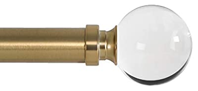 Ivilon Drapery Treatment Window Curtain Rod - Acrylic Ball 1 inch Pole. 48 to 86 Inch. Warm Gold